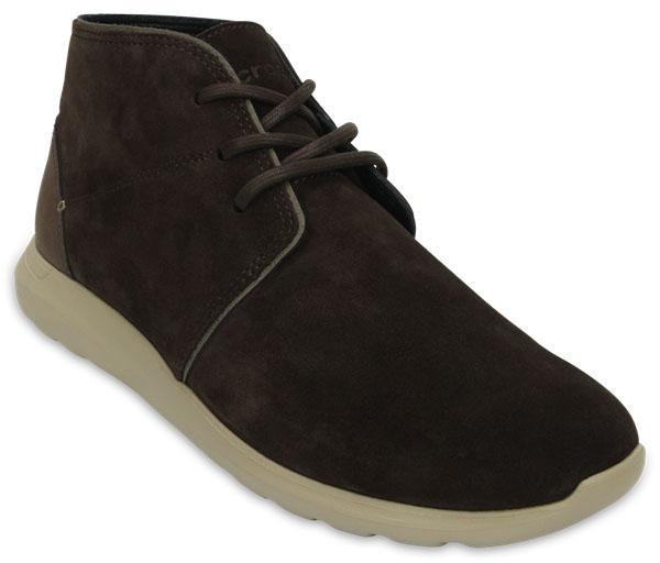 203391-2U1Стиль и комфорт целый день вам обеспечат ботинки Crocs Kinsale Chukka. Верх выполнен из мягкой натуральной замши с кожаными вставками. Ботинки плотно прилегают к стопе благодаря практичной шнуровке. Вставка из пены с эффектом памяти поверх стельки и подошва Croslite обеспечивают тройной комфорт.