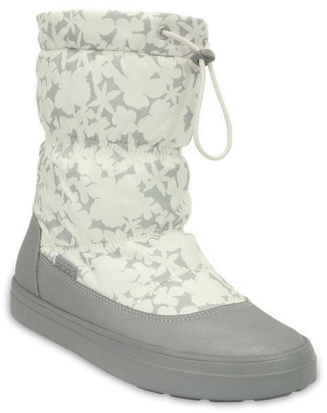 203422-159Легкие универсальные сапоги LodgePoint Pull-on Boot от Crocs подойдут на каждый день. Верх выполнен из водоотталкивающего нейлона и оформлен цветочным принтом, голенище дополнено шнурком с фиксатором. Подошва Croslite улучшает сцепление и увеличивает срок службы обуви.