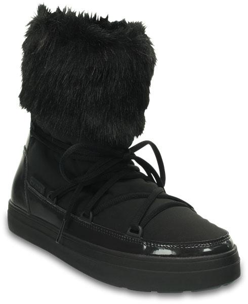Луноходы203423-001Универсальные легкие луноходы LodgePoint Lace Boo от Crocs подойдут на каждый день. Высота до середины икры отлично смотрится с джинсами и платьями. Верх выполнен из водоотталкивающего нейлона, дополнен шнуровкой и декорирован меховой оторочкой. Резиновая подошва Croslite улучшает сцепление и увеличивает срок службы обуви;