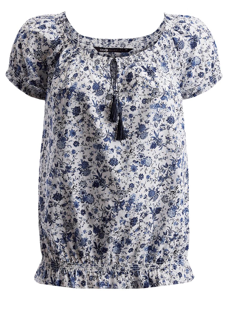 Блузка11400344-2/12836/1275FЖенская блузка oodji Ultra исполнена из хлопковой ткани. Имеет резинку снизу и на плечиках, рукава-фонарики и круглый вырез. Декольте оформлено завязками с кисточками.