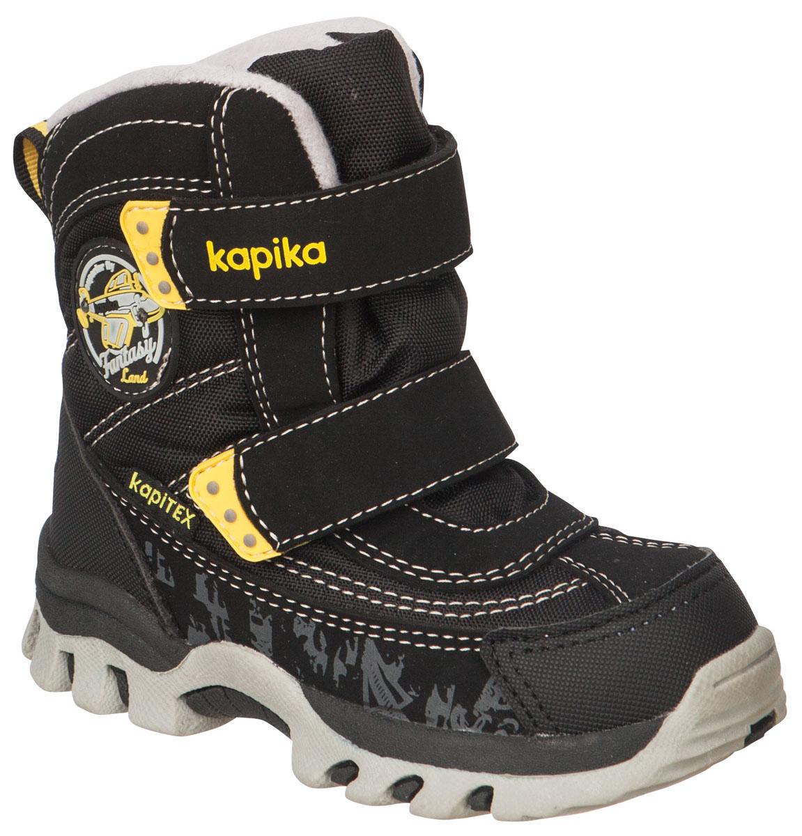 41175-1Легкие, удобные и теплые ботинки от Kapika выполнены из мембранных материалов и искусственной кожи. Два ремешка на застежках-липучках надежно фиксируют изделие на ноге. Мягкая подкладка и стелька из шерсти обеспечивают тепло, циркуляцию воздуха и сохраняют комфортный микроклимат в обуви. Подошва с протектором гарантирует идеальное сцепление с любыми поверхностями. Идеальная зимняя обувь для активных детей.