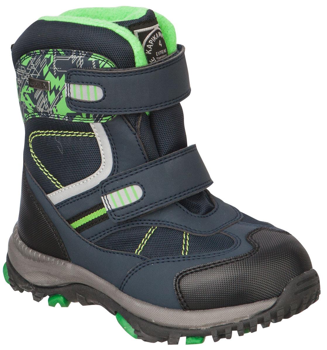 41174-1Легкие, удобные и теплые ботинки от Kapika выполнены из мембранных материалов и искусственной кожи. Два ремешка на застежках-липучках надежно фиксируют изделие на ноге. Мягкая подкладка и стелька из шерсти обеспечивают тепло, циркуляцию воздуха и сохраняют комфортный микроклимат в обуви. Подошва с протектором гарантирует идеальное сцепление с любыми поверхностями. Идеальная зимняя обувь для активных детей и подростков. Модель большемерит на 1 размер.