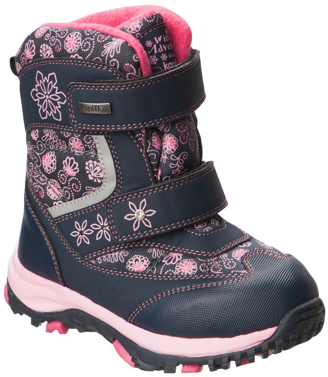 41155-2Ботинки от Kapika придутся по душе вашей девочке. Модель идеально подходит для зимы, сохраняет комфортный микроклимат в обуви как при ношении на улице, так и в помещении. Верх обуви изготовлен из искусственной кожи со вставками из водонепроницаемого текстиля, оформленного нежным цветочным принтом. Два ремешка на застежке-липучке надежно зафиксируют изделие на ноге. Боковая сторона, язычок и верхний ремешок декорированы логотипом бренда. Подкладка и стелька изготовлены из натуральной шерсти, что позволяет сохранить тепло и гарантирует уют ногам. Подошва с рифлением обеспечивает идеальное сцепление с любыми поверхностями. Такие чудесные ботинки займут достойное место в гардеробе вашего ребенка.