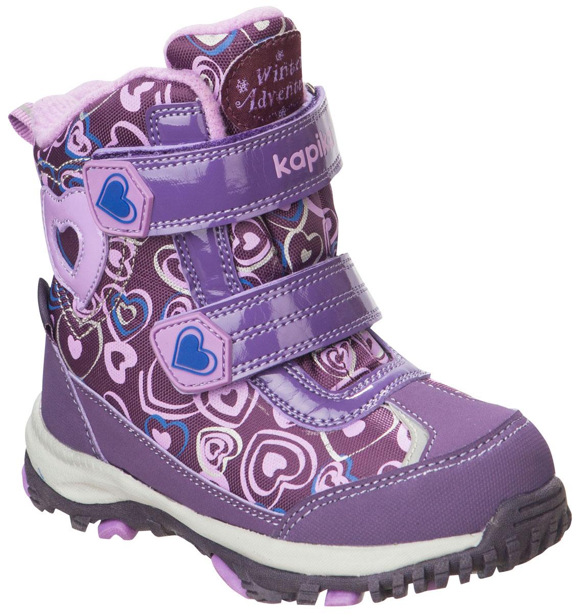 42168-1Легкие, удобные и теплые ботинки от Kapika выполнены из мембранных материалов и искусственной кожи. Два ремешка на застежках-липучках надежно фиксируют изделие на ноге. Мягкая подкладка и стелька из шерсти обеспечивают тепло, циркуляцию воздуха и сохраняют комфортный микроклимат в обуви. Подошва с протектором гарантирует идеальное сцепление с любыми поверхностями. Идеальная зимняя обувь для активных детей. Модель большемерит на 1 размер.