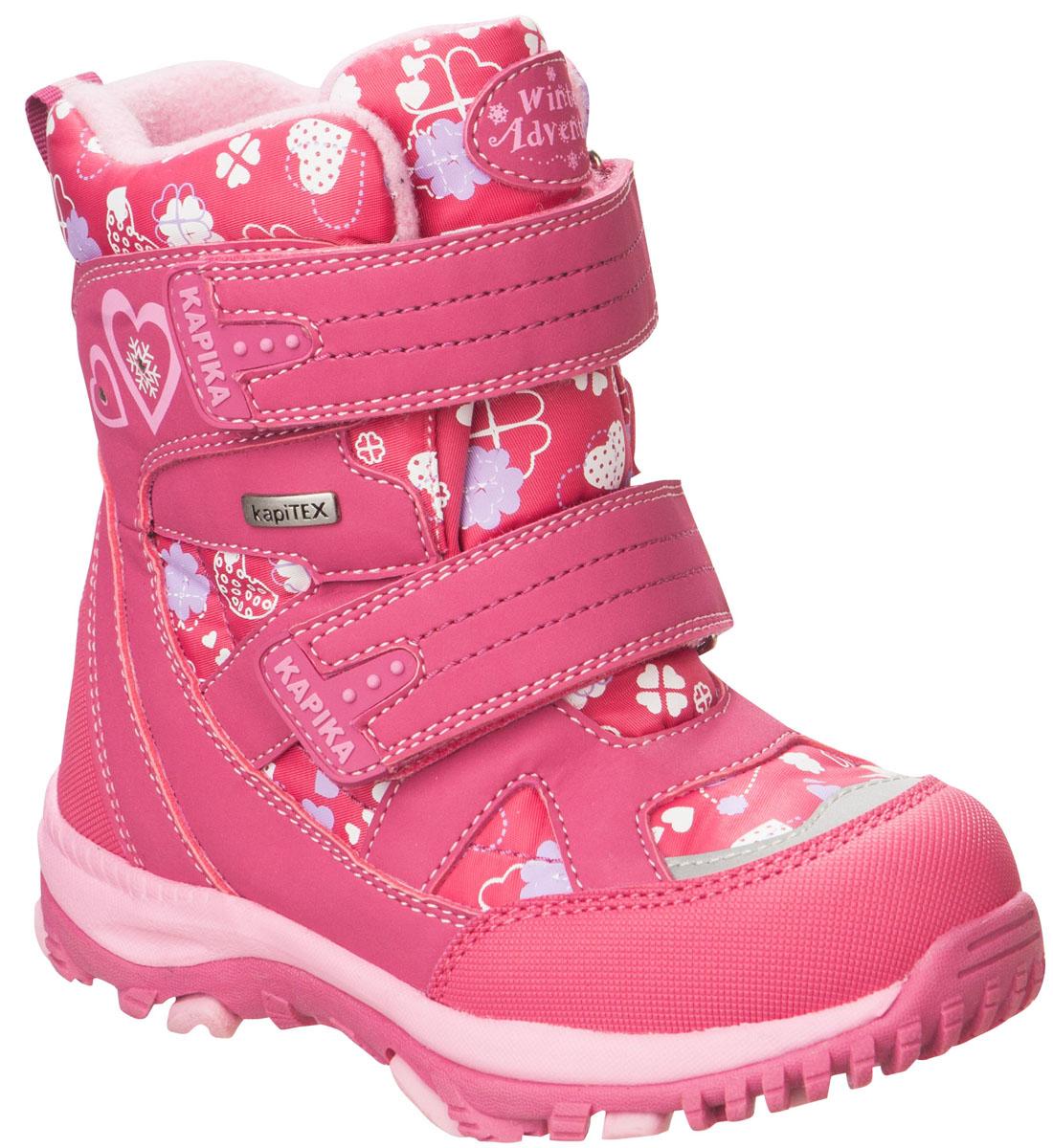 41181-1Легкие, удобные и теплые ботинки от Kapika выполнены из мембранных материалов и искусственной кожи. Два ремешка на застежках-липучках надежно фиксируют изделие на ноге. Мягкая подкладка и стелька из шерсти обеспечивают тепло, циркуляцию воздуха и сохраняют комфортный микроклимат в обуви. Подошва с протектором гарантирует идеальное сцепление с любыми поверхностями. Идеальная зимняя обувь для активных детей. Модель большемерит на 1 размер.