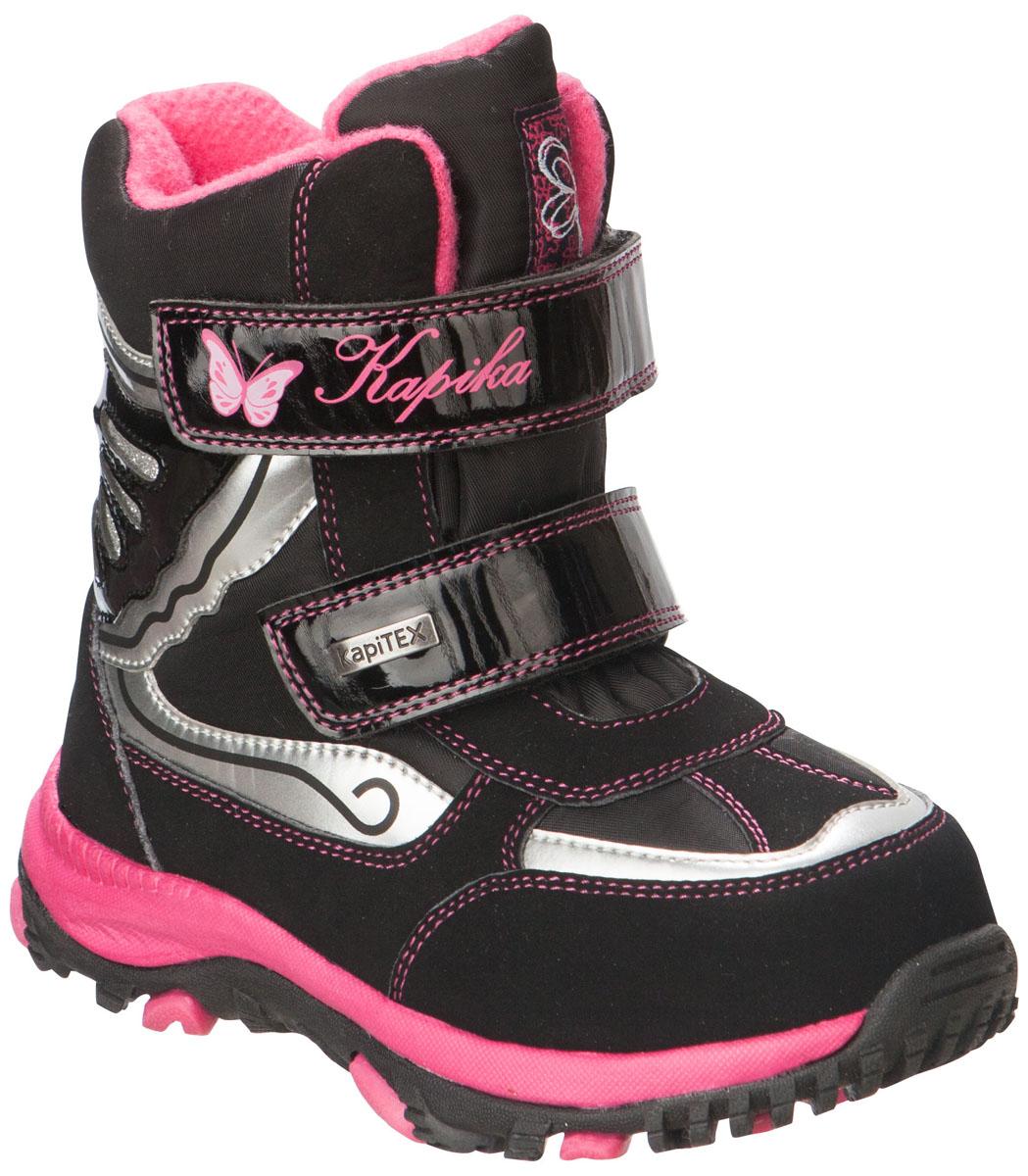 41163-1Легкие, удобные и теплые ботинки от Kapika выполнены из мембранных материалов и искусственной кожи. Два ремешка на застежках-липучках надежно фиксируют изделие на ноге. Мягкая подкладка и стелька из шерсти обеспечивают тепло, циркуляцию воздуха и сохраняют комфортный микроклимат в обуви. Подошва с протектором гарантирует идеальное сцепление с любыми поверхностями. Идеальная зимняя обувь для активных детей. Модель большемерит на 1 размер.