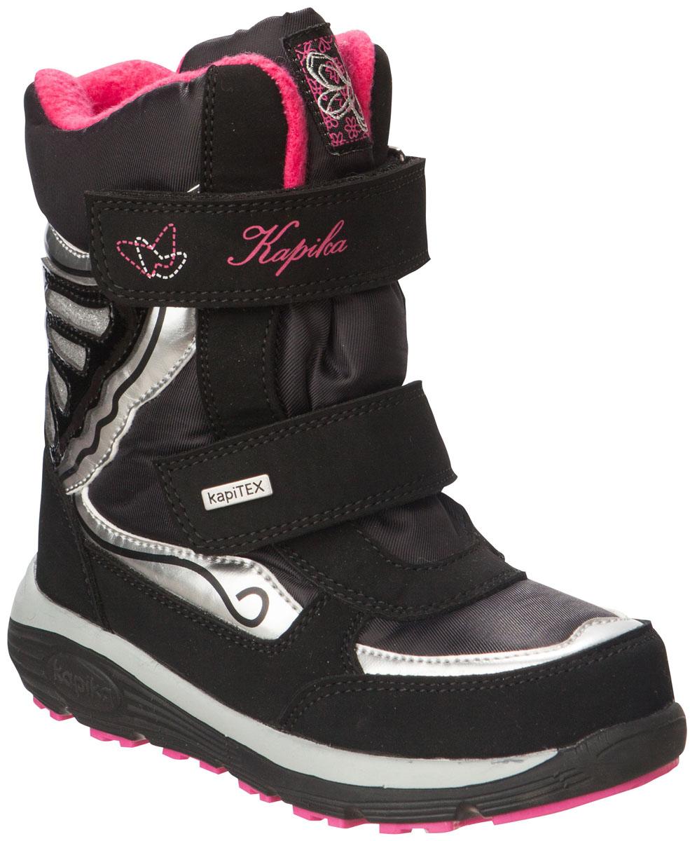 42163-1Легкие, удобные и теплые ботинки от Kapika выполнены из мембранных материалов и искусственной кожи. Два ремешка на застежках-липучках надежно фиксируют изделие на ноге. Мягкая подкладка и стелька из шерсти обеспечивают тепло, циркуляцию воздуха и сохраняют комфортный микроклимат в обуви. Подошва с протектором гарантирует идеальное сцепление с любыми поверхностями. Идеальная зимняя обувь для активных детей. Модель большемерит на 1 размер.