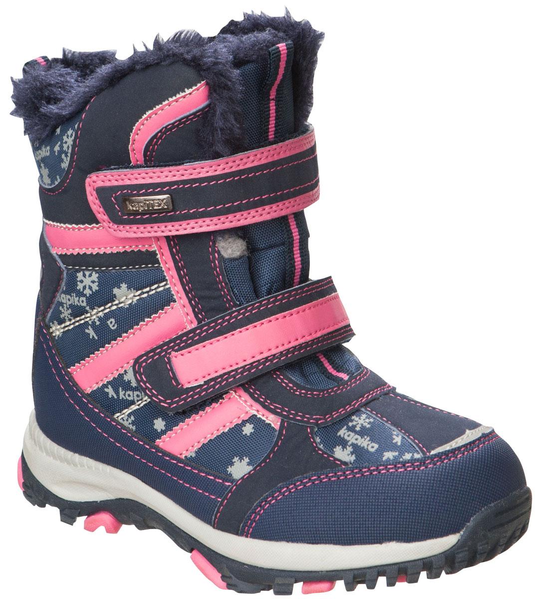 42169-1Легкие, удобные и теплые ботинки от Kapika выполнены из мембранных материалов и искусственной кожи. Два ремешка на застежках-липучках надежно фиксируют изделие на ноге. Мягкая подкладка и стелька из шерсти обеспечивают тепло, циркуляцию воздуха и сохраняют комфортный микроклимат в обуви. Подошва с протектором гарантирует идеальное сцепление с любыми поверхностями. Идеальная зимняя обувь для активных детей. Модель большемерит на 1 размер.