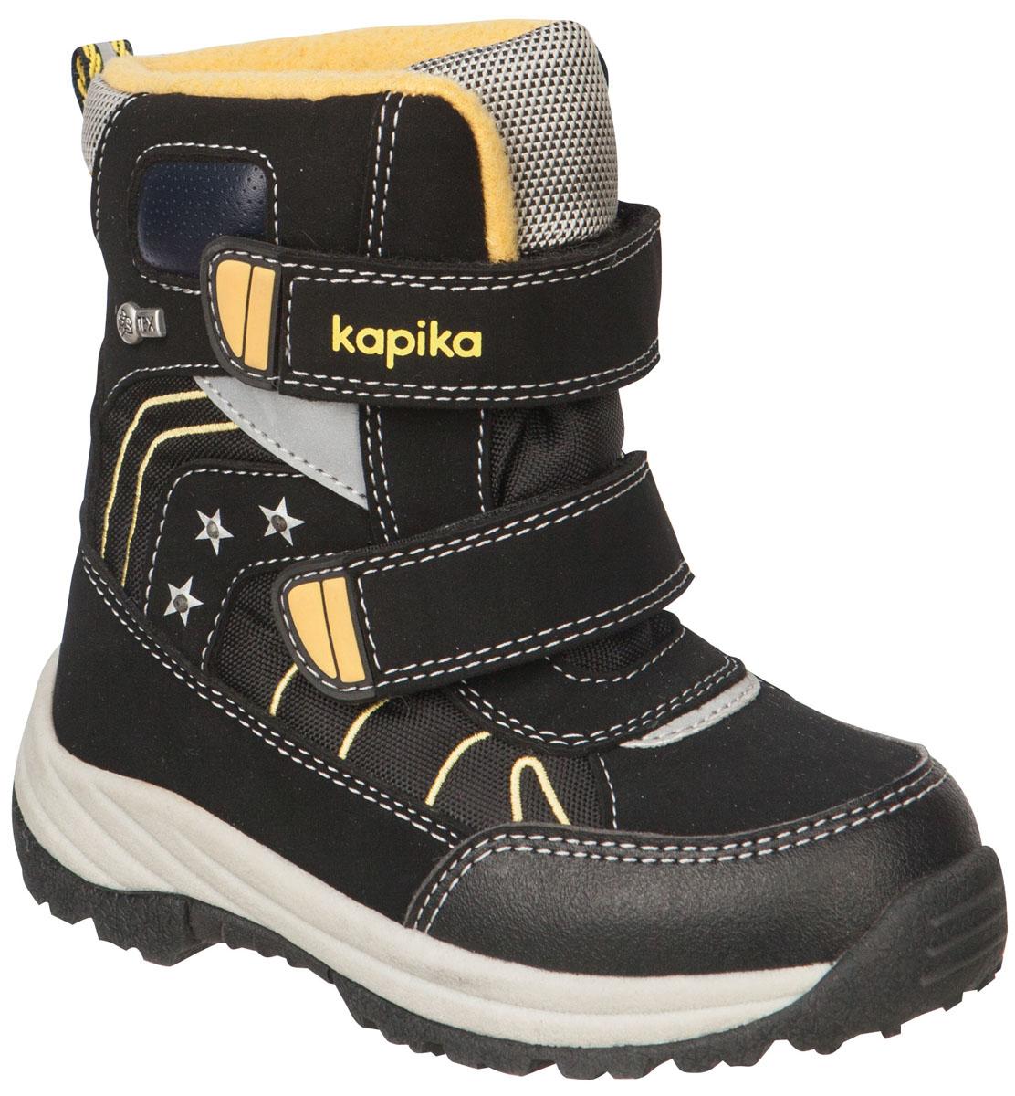 41149-1Легкие, удобные и теплые ботинки от Kapika выполнены из мембранных материалов и искусственной кожи. Два ремешка на застежках-липучках надежно фиксируют изделие на ноге. Мягкая подкладка и стелька из шерсти обеспечивают тепло, циркуляцию воздуха и сохраняют комфортный микроклимат в обуви. Подошва с протектором гарантирует идеальное сцепление с любыми поверхностями. Идеальная зимняя обувь для активных детей и подростков.