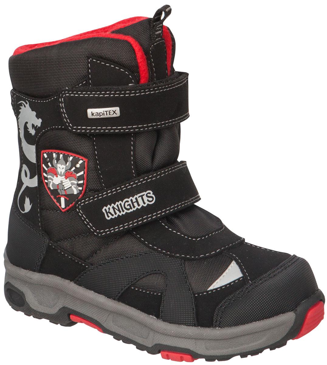 42171-1Легкие, удобные и теплые ботинки от Kapika выполнены из мембранных материалов и искусственной кожи. Два ремешка на застежках-липучках надежно фиксируют изделие на ноге. Мягкая подкладка и стелька из шерсти обеспечивают тепло, циркуляцию воздуха и сохраняют комфортный микроклимат в обуви. Подошва с протектором гарантирует идеальное сцепление с любыми поверхностями. Идеальная зимняя обувь для активных детей. Модель большемерит на 1 размер.
