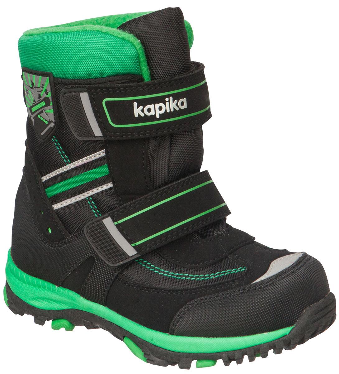 42180-1Легкие, удобные и теплые ботинки от Kapika выполнены из мембранных материалов и искусственной кожи. Два ремешка на застежках-липучках надежно фиксируют изделие на ноге. Мягкая подкладка и стелька из шерсти обеспечивают тепло, циркуляцию воздуха и сохраняют комфортный микроклимат в обуви. Подошва с протектором гарантирует идеальное сцепление с любыми поверхностями. Идеальная зимняя обувь для активных детей. Модель большемерит на 1 размер.