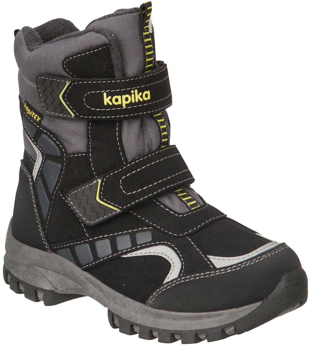 42159-1Легкие, удобные и теплые ботинки от Kapika выполнены из мембранных материалов и искусственной кожи. Два ремешка на застежках-липучках надежно фиксируют изделие на ноге. Мягкая подкладка и стелька из шерсти обеспечивают тепло, циркуляцию воздуха и сохраняют комфортный микроклимат в обуви. Подошва с протектором гарантирует идеальное сцепление с любыми поверхностями. Идеальная зимняя обувь для активных детей. Модель большемерит на половину размера.