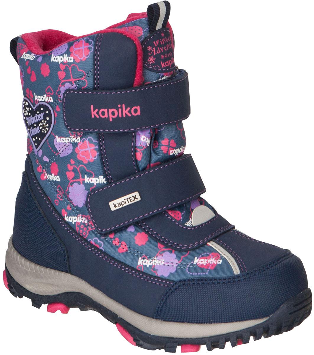 42167-1Легкие, удобные и теплые ботинки от Kapika выполнены из мембранных материалов и искусственной кожи. Два ремешка на застежках-липучках надежно фиксируют изделие на ноге. Мягкая подкладка и стелька из шерсти обеспечивают тепло, циркуляцию воздуха и сохраняют комфортный микроклимат в обуви. Подошва с протектором гарантирует идеальное сцепление с любыми поверхностями. Идеальная зимняя обувь для активных детей. Модель большемерит на 1 размер.