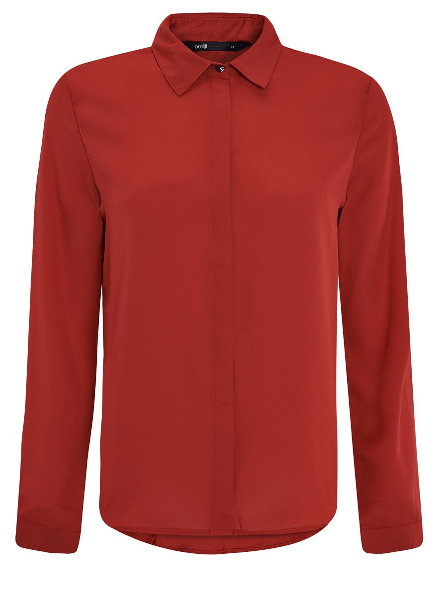 11400368-3/32823/3529AЖенская блузка oodji Ultra выполнена из воздушной ткани с длинными рукавами и скрытыми пуговицами. Имеет классический отложной воротник и декорирована металлической пуговицей под ним.