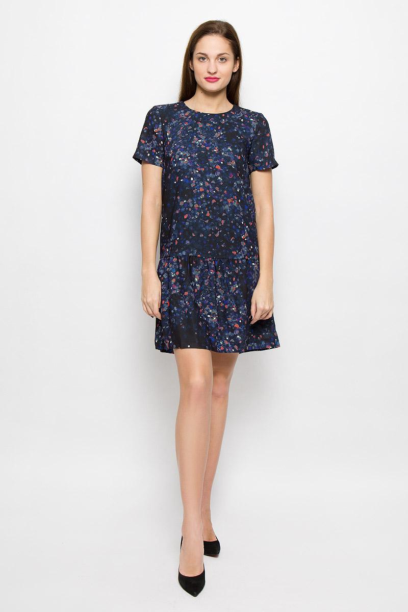 Платье16051734_BlackСтильное платье выполнено из высококачественного легкого материала с полупрозрачной подкладкой. Модель с круглым вырезом горловины и короткими рукавами застегивается на спинке на пуговицу. Модель модной расцветки дополнит ваш образ и подчеркнет достоинства вашей фигуры.