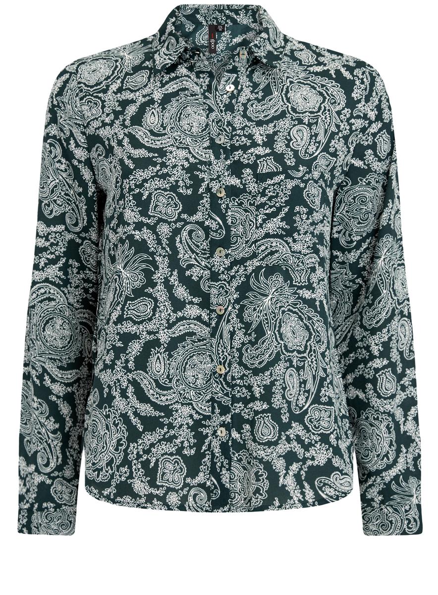 11400394-5/36215/1223GСтильная блузка oodji Ultra с классическим отложным воротничком и длинными рукавами оформлена оригинальным принтом. На груди расположен накладной кармашек. Модель по всей длине застегивается на пуговицы.