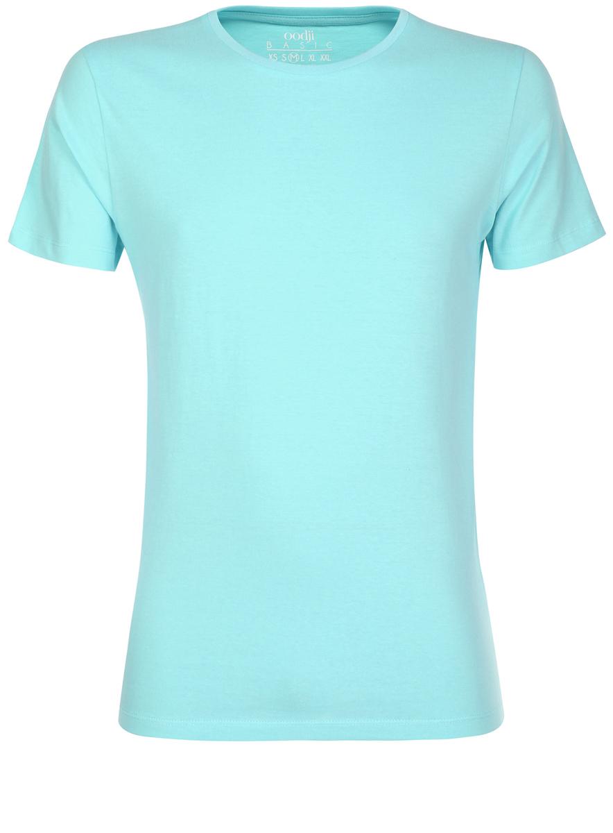 Футболка5B621002M/44135N/7300NМужская футболка oodji Basic изготовлена из высококачественного натурального хлопка. Модель с короткими рукавами и круглым вырезом горловины дополнена эластичной вставкой в цвет изделия по горловине.