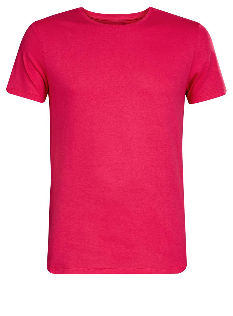5B621002M/44135N/7300NМужская футболка oodji Basic изготовлена из высококачественного натурального хлопка. Модель с короткими рукавами и круглым вырезом горловины дополнена эластичной вставкой в цвет изделия по горловине.