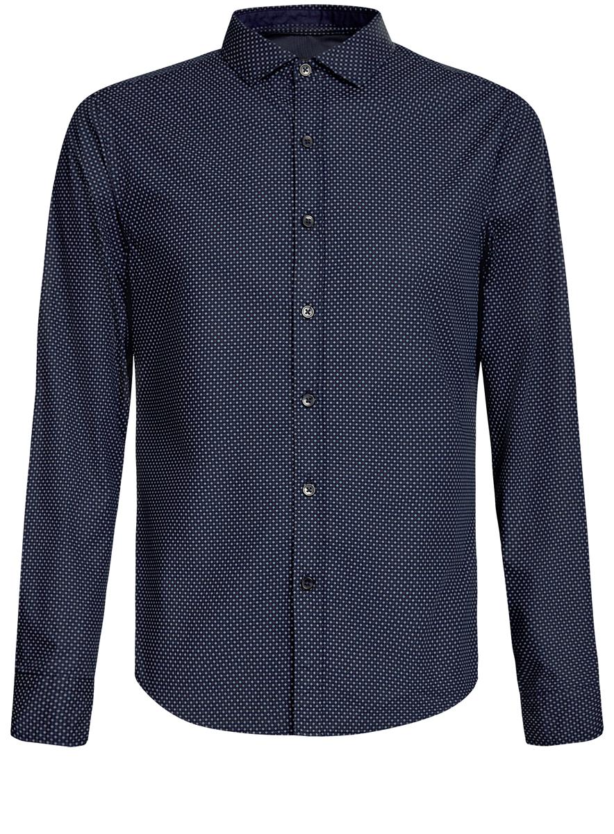 Рубашка3L310137M/19370N/4930GСтильная мужская рубашка oodji Lab, выполненная из натурального хлопка, позволяет коже дышать, тем самым обеспечивая наибольший комфорт при носке. Модель классического кроя с отложным воротником и длинными рукавами застегивается на пуговицы по всей длине. Манжеты рукавов оснащены застежками-пуговицами. Изделие оформлено оригинальным принтом.