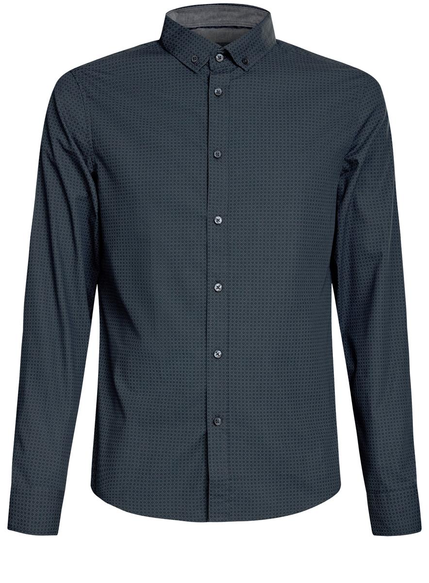 3L310135M/44425N/6E23GСтильная мужская рубашка oodji выполнена из натурального хлопка. Модель с отложным воротником и длинными рукавами застегивается на пуговицы спереди. Манжеты рукавов дополнены застежками-пуговицами. Оформлена рубашка оригинальным мелким принтом.