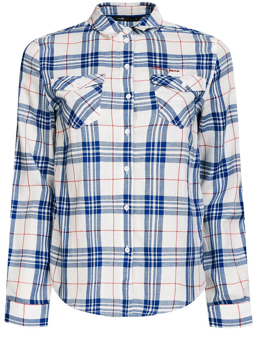 Рубашка11400433/43223/1275CСтильная женская рубашка oodji Ultra выполнена из натурального хлопка. Рубашка с отложным воротником и длинными рукавами застегивается на пуговицы. На груди изделие дополнено двумя накладными карманами с клапанами на пуговицах. Оформлена модель принтом в клетку.