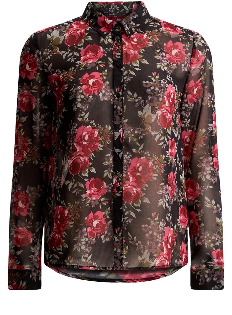 11401246/43074/2945FЖенская блузка oodji Ultra имеет свободный крой, классический воротник и длинный рукав. Спереди и на манжетах застегивается на пуговицы.