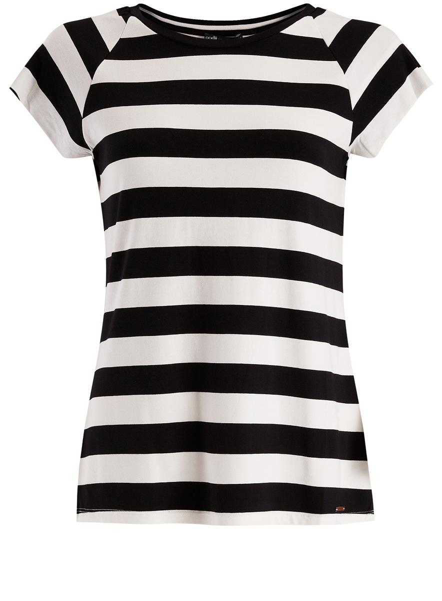 Футболка24707001-2/14675/1229SЖенская футболка выполнена из вискозы с добавлением полиуретана и оформлена принтом в полоску. Модель с круглым вырезом горловины и стандартными короткими рукавами.