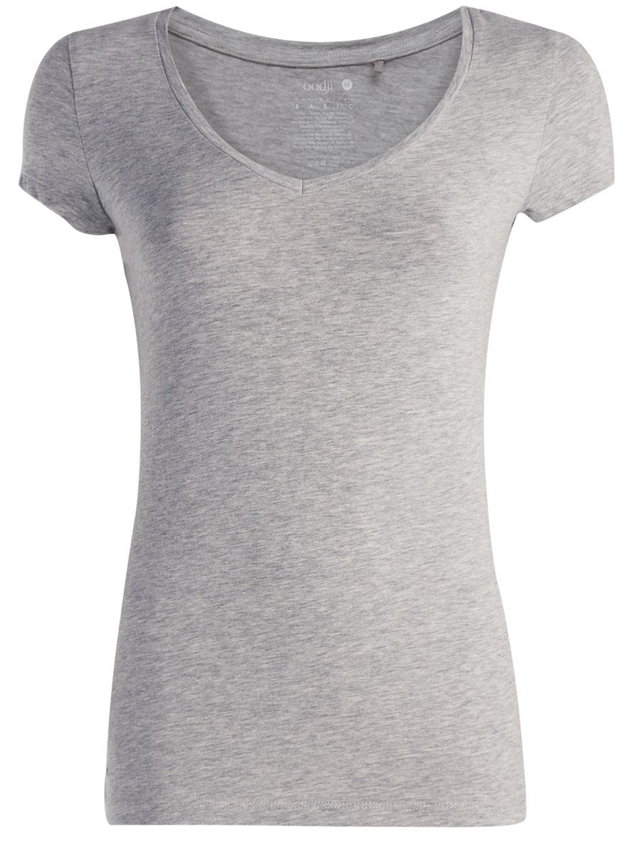 Футболка24701002-4/45821/2000MМодная женская футболка oodji Collection изготовлена из хлопка с добавлением вискозы и полиуретана. Модель с V-образным вырезом горловины и короткими рукавами выполнена в лаконичном дизайне.
