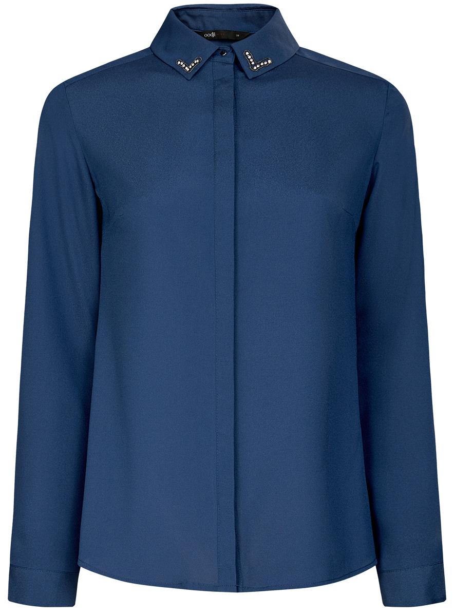 11403172-2/31427/2910DЖенская блузка oodji Ultra исполнена из воздушной ткани и декорирована стразами по углам воротничка. Имеет длинный рукав и застегивается на пуговицы. Модель свободно садится по фигуре. Подходит для любого образа.