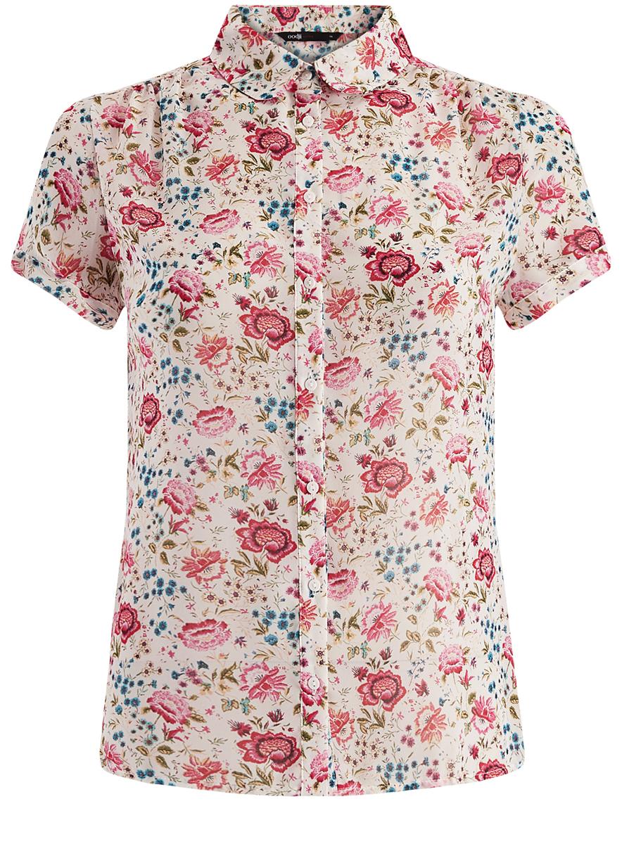 11403202/19538/124DFЖенская блузка oodji Ultra изготовлена из легкой полупрозрачной ткани, имеет свободный крой, отложной воротничок и короткий рукав.