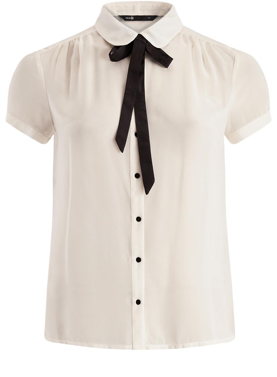Блузка11403202-1/19538/1200NМодная женская блузка oodji Ultra изготовлена из 100% полиэстера. Модель с отложным воротником и короткими рукавами застегивается на пуговицы. Спереди модель дополнена декоративным бантиком.