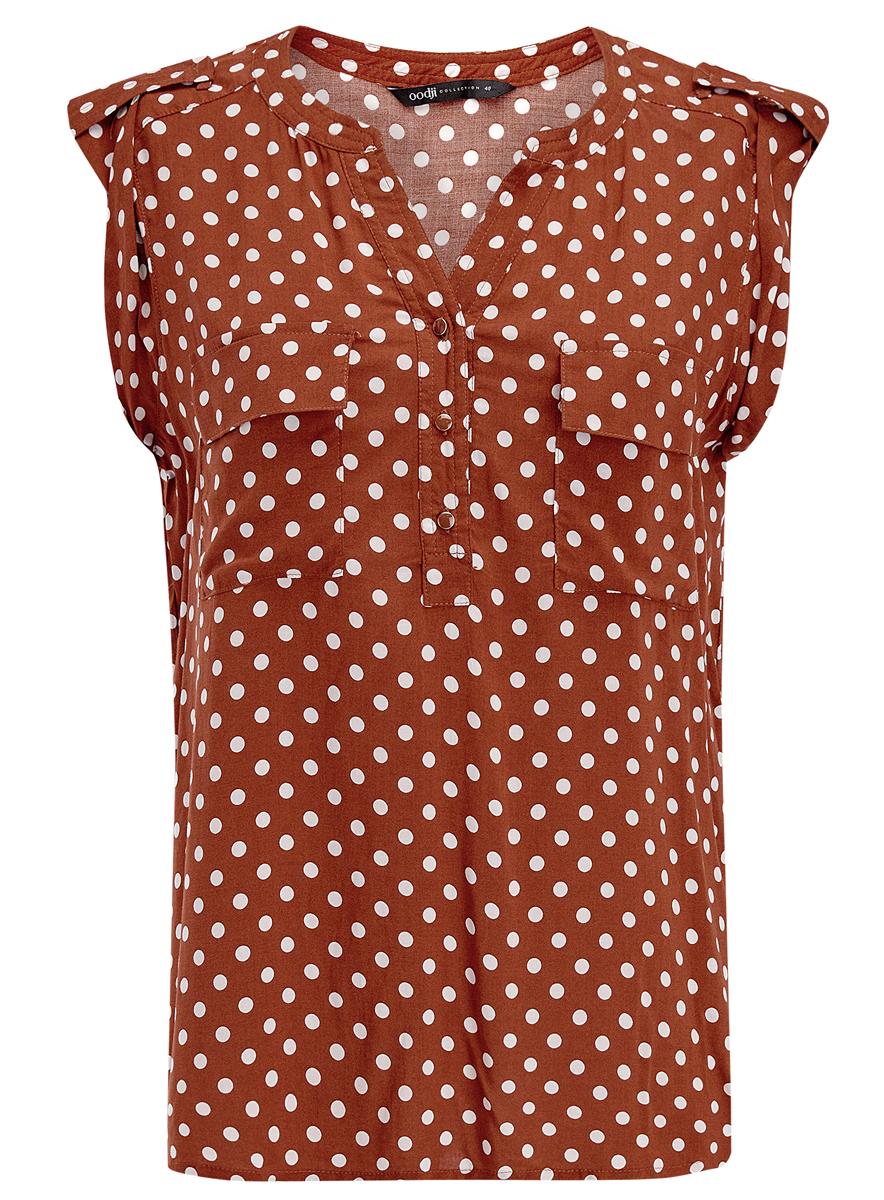 Блузка21412132/24681/4C10FЖенская блузка oodji Ultra без рукавов имеет свободный крой, два кармана на груди и V-образный вырез воротника, застегивающийся на три пуговицы спереди.