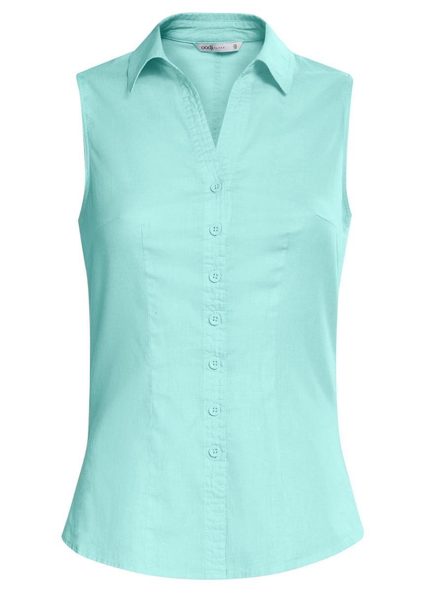 Блузка11405063-6/45510/7500NБлузка oodji Ultra выполнена из натурального хлопка. Модель с отложным воротником не имеет рукавов и застегивается по всей длине с помощью пуговиц. Спереди блузка дополнена элегантным V-образным вырезом.