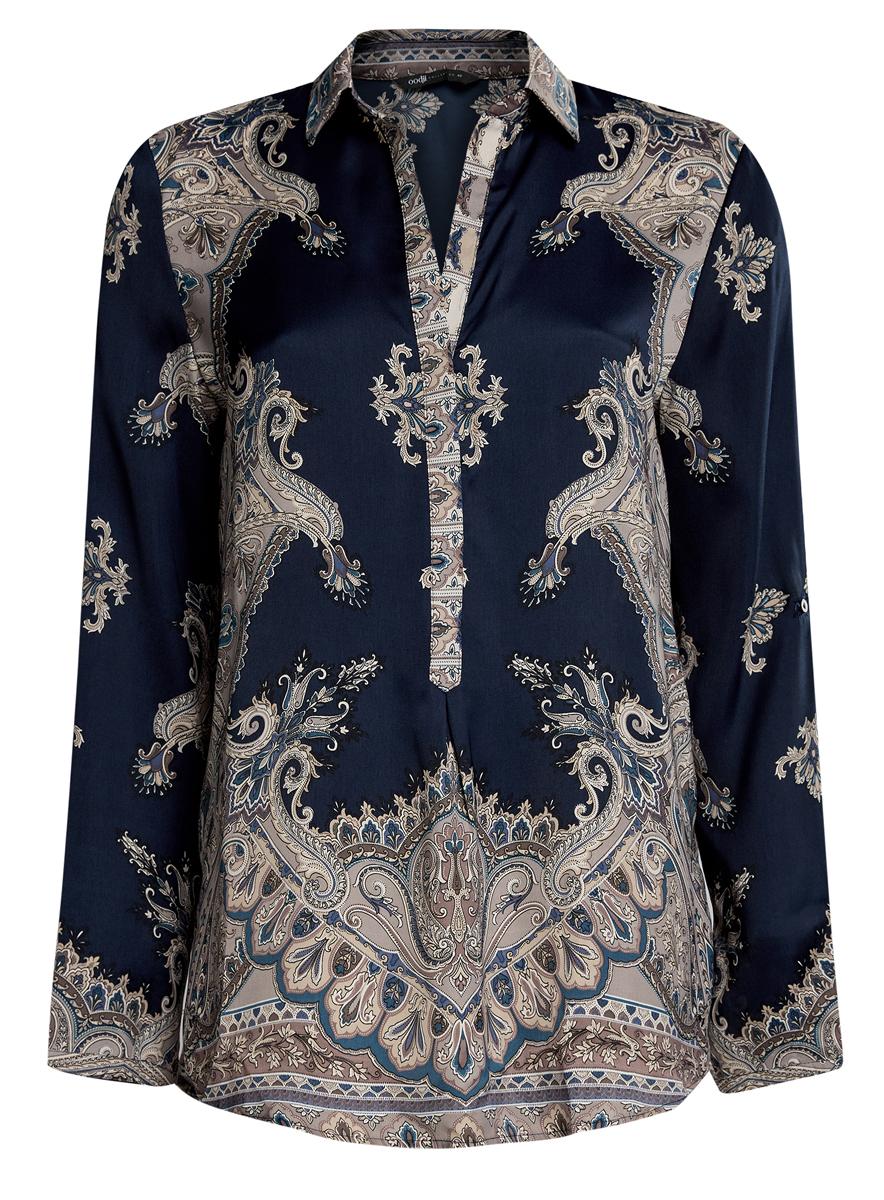 21411144-3/35542/4939EЖенская стильная блузка oodji Collection выполнена из 100% полиэстера. Блузка с длинными рукавами и отложным воротником застегивается на застежки-пуговицы. Оформлена модель оригинальным принтом.