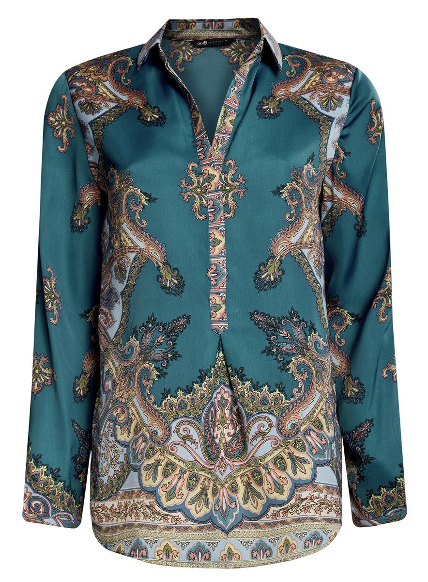 Блузка21411144-3/35542/4939EСтильная блузка oodji Collection выполнена из 100% полиэстера. Блузка с длинными рукавами и отложным воротником застегивается на пуговицы. Оформлена модель оригинальным принтом.