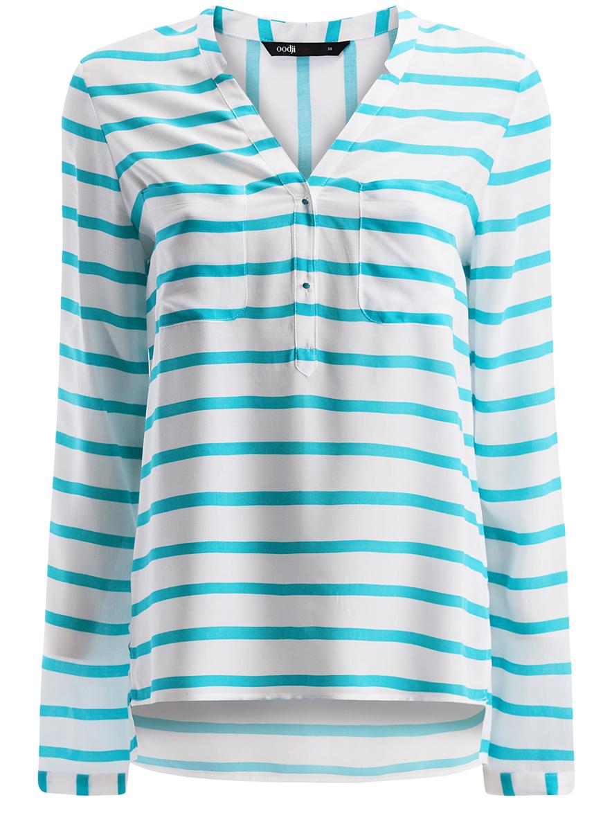 Блузка11411049/24681/1073SЖенская блуза oodji Ultra с длинными рукавами и V-образным вырезом горловины выполнена из натуральной вискозы. Блузка имеет свободный крой, манжеты рукавов застегиваются на пуговицы. На груди располагаются два накладных кармана. Модель украшена принтом в полоску и дополнена декоративными пуговицами.