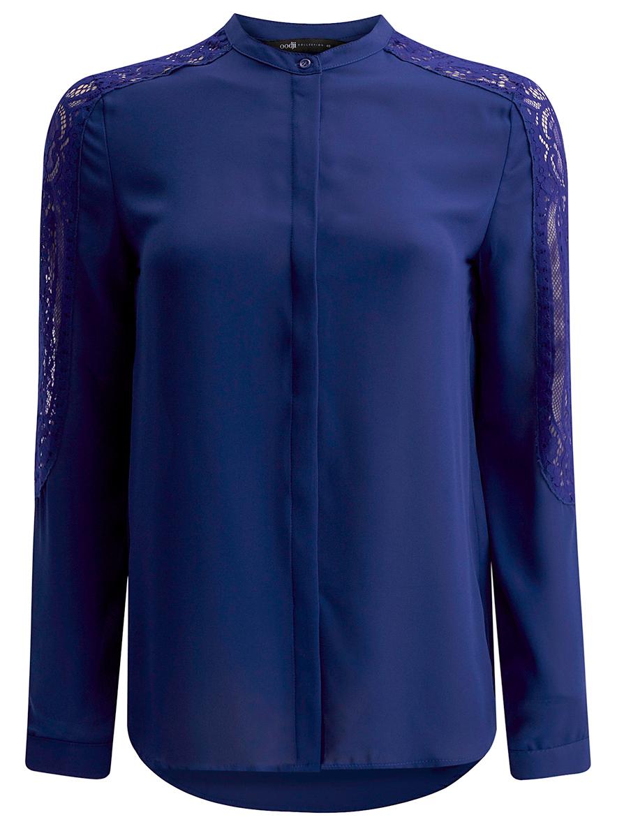 21411087/36215/4500NЖенская блузка oodji Collection выполнена из 100% полиэстера. Модель с круглым вырезом горловины и длинными рукавами застегивается на пуговицы. Дополнена модель кружевными вставками на рукаве.