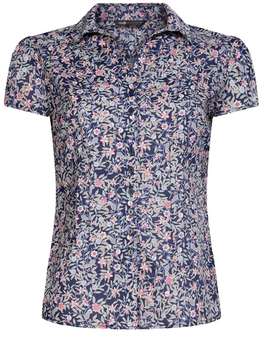 Блузка21407022-7/12836/2941FЖенская блуза oodji Collection с короткими рукавами и отложным воротником выполнена из натурального хлопка. Приталенная блузка застегивается на пуговицы на груди. Модель оформлена цветочным принтом.