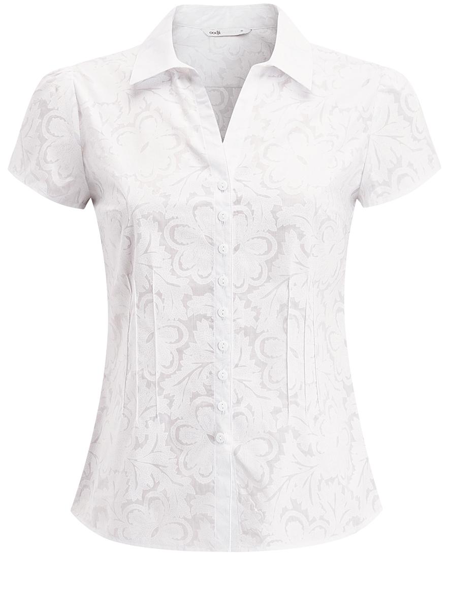 Блузка21407022-6/42731/1000NЖенская блузка oodji Collection изготовлена из качественного полиэстера с добавлением натурального хлопка. Модель приталенного кроя с отложным воротником и короткими рукавами застегивается на застежки-пуговицы по всей длине. Спереди блузка дополнена небольшим V-образным вырезом. Оформлено изделие оригинальным принтом с узорами.
