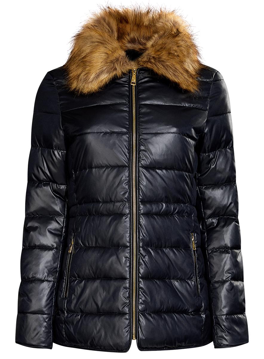 Куртка20204041-3/24176/7900NСтильная женская куртка выполнена из полиэстера с утеплителем из синтепона, пуха и пера. Модель с отложным воротником, дополненным искусственным мехом, который пристегивается при помощи пуговиц. Спереди куртка оснащена двумя карманами на молниях. На поясе куртка дополнена скрытым утягивающим шнурком со стопперами.
