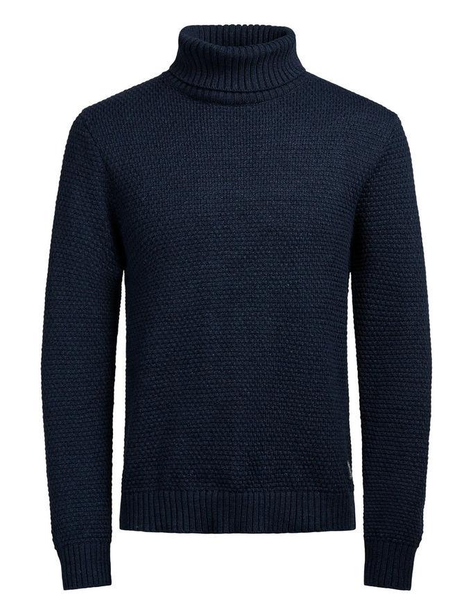 12110115_Total EclipseОригинальный мужской свитер Jack & Jones, изготовлен из высококачественной пряжи из хлопка и акрила. Модель с воротником-гольф и длинными рукавами великолепно подойдет для создания современного образа в стиле Casual. Горловина, манжеты рукавов и низ свитера связаны резинкой.