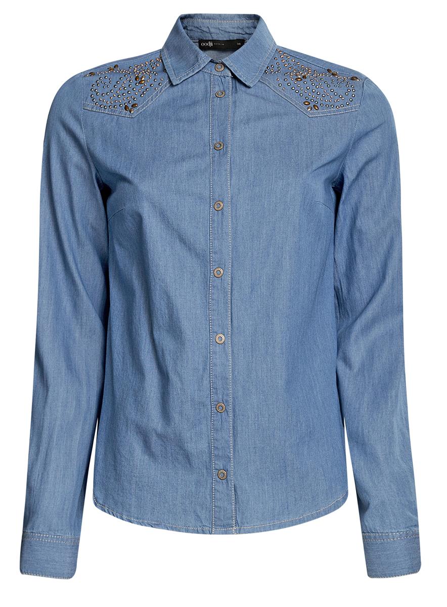 Рубашка19009002/42706/7000WСтильная женская рубашка oodji Ultra выполнена из натурального хлопка. Модель с отложным воротником и длинными рукавами застегивается на металлические кнопки по всей длине. Манжеты рукавов оснащены застежками- кнопками. Оформлена модель металлическими стразами.