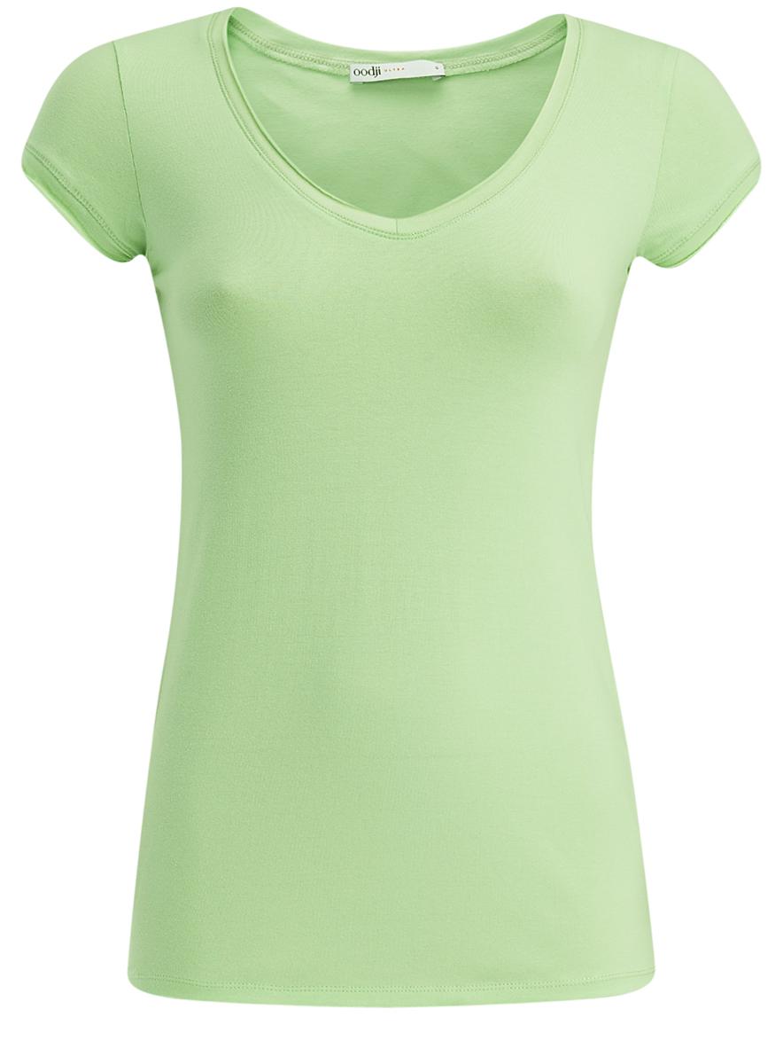 14711002B/46157/4A00NМодная женская футболка oodji Ultra изготовлена из качественного комбинированного материала. Модель с V-образным вырезом горловины и короткими рукавами выполнена в лаконичном дизайне. Горловина и края рукавов оформлены с имитацией необработанной ткани.