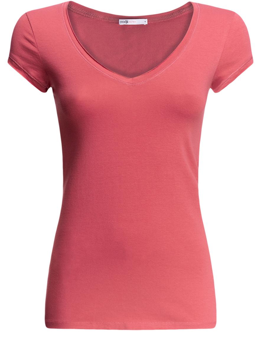 Футболка14711002B/46157/4A00NМодная женская футболка oodji Ultra изготовлена из качественного комбинированного материала. Модель с V-образным вырезом горловины и короткими рукавами выполнена в лаконичном дизайне. Горловина и края рукавов оформлены с имитацией необработанной ткани.