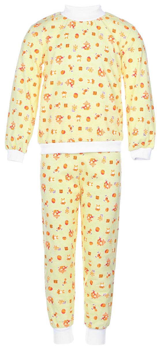 Пижама10-5872Уютная детская пижама Фреш Стайл выполнена из натурального хлопка. Футболка с длинными рукавами имеет круглый вырез горловины, оформленный трикотажной резинкой. На рукавах предусмотрены мягкие манжеты. Низ изделия дополнен широкой трикотажной резинкой. Брюки имеют эластичный пояс. Брючины дополнены манжетами. Пижама оформлена принтом.