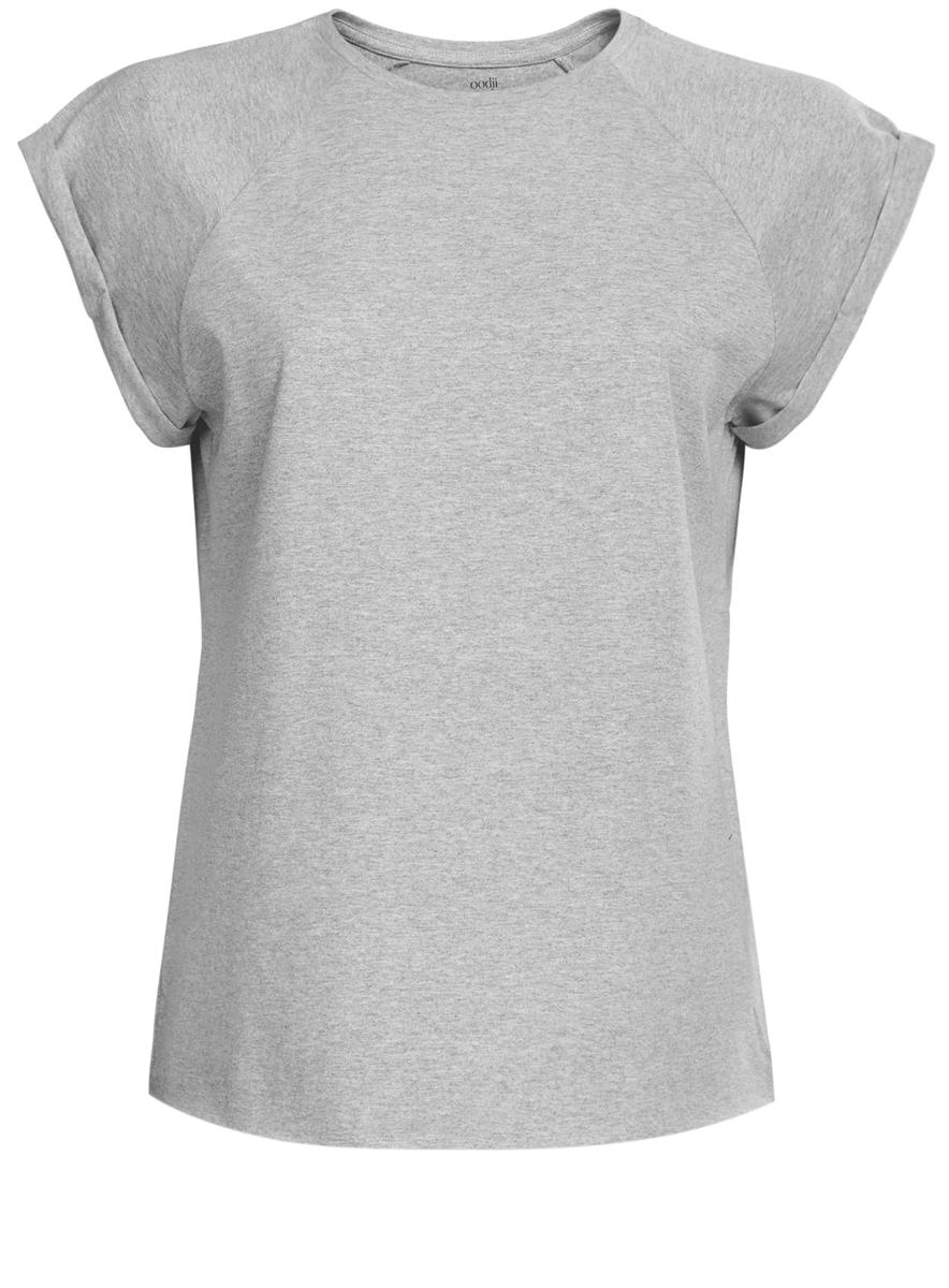 14707001-4B/46154/1000NЖенская футболка выполнена из 100% хлопка. Модель с круглым вырезом горловины и короткими рукавами-реглан. Рукава оформлены декоративными отворотами. Края изделия не обработаны швом.