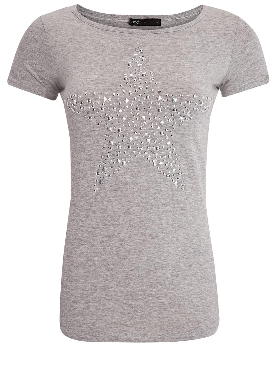14701048-4/24428/2391PЖенская футболка oodji Ultra изготовлена из высококачественного натурального хлопка. Модель с короткими рукавами и круглым вырезом горловины украшена узором в виде звезды, составленной из множества металлических заклепок.