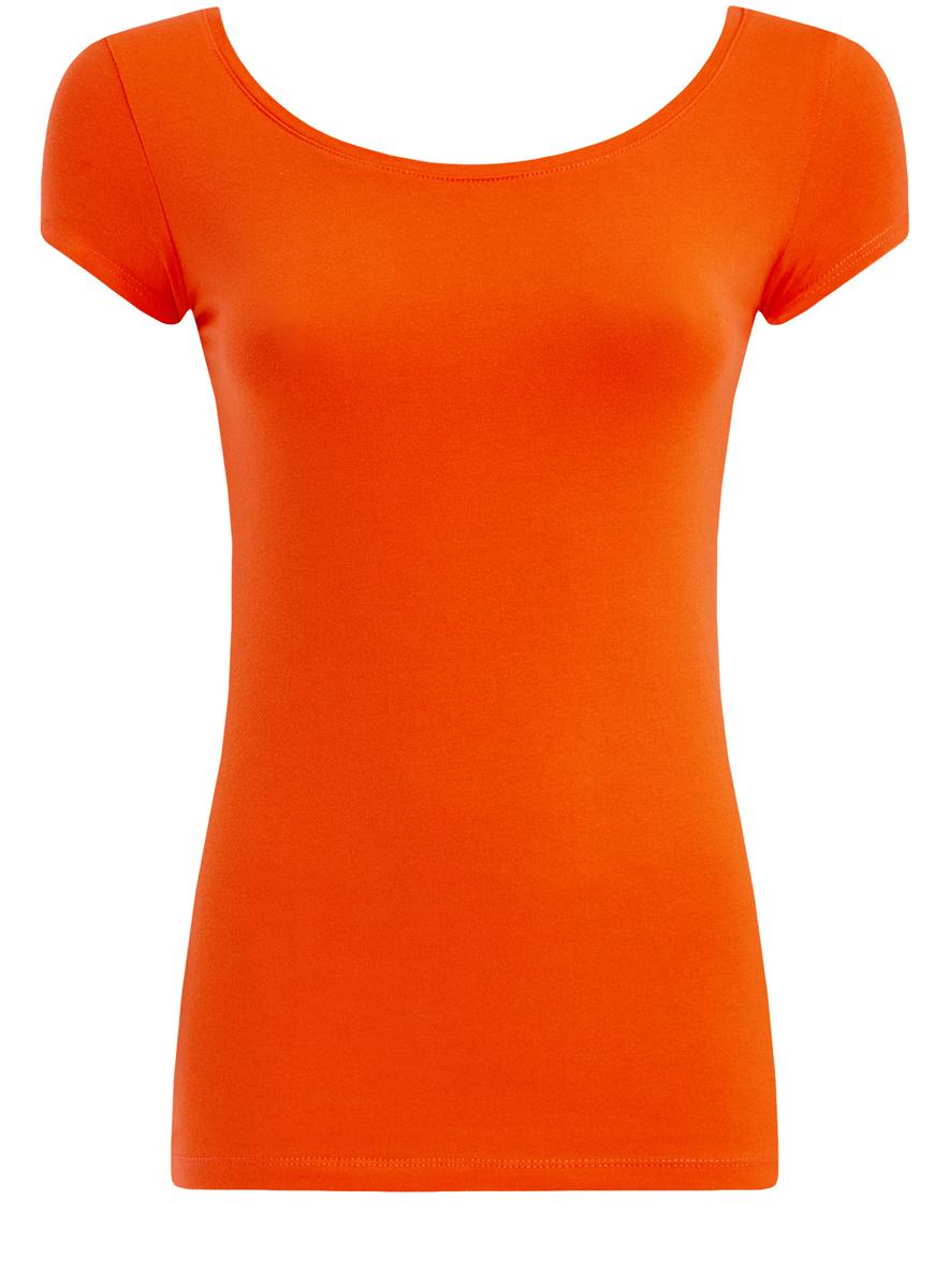 14701026/46147/4501NЖенская футболка oodji Ultra выполнена из эластичного хлопка. Модель с круглым вырезом горловины и короткими рукавами имеет приталенный силуэт. На спинке изделие украшено фигурным вырезом.