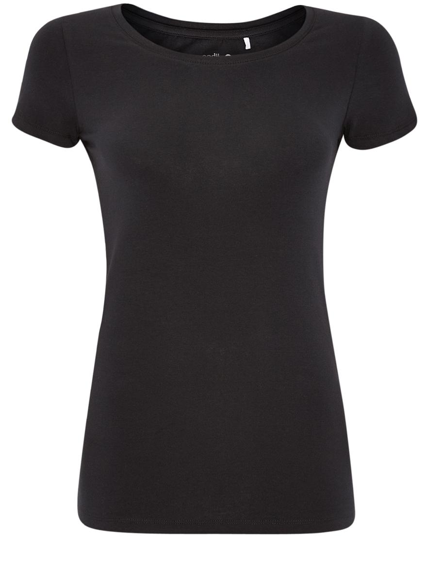 14701005T3/46147/2900NЖенская футболка oodji Ultra выполнена из эластичного хлопка. Модель с круглым вырезом горловины и короткими рукавами. В комплекте 3 футболки одного цвета.