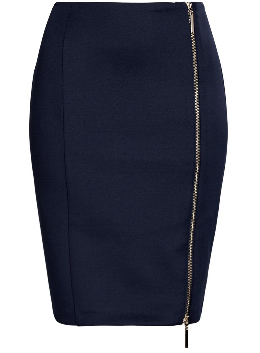 14101080/33038/7900NЮбка oodji Ultra выполнена из высококачественного полиэстера с добавлением эластана. В качестве материала подкладки используется полиэстер. Модель-карандаш застегивается спереди по всей длине на металлическую молнию. Выполнена юбка в лаконичном дизайне.